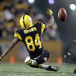 Pittsburgh Steelers wide receiver Antonio Brown (84) can't make the catch in the third quarter of the NFL football game against the Cleveland Brownson Thursday, Dec. 8, 2011, in Pittsburgh.  …