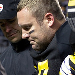 Pittsburgh Steelers quarterback Ben Roethlisberger is helped from the field after being injured in the second quarter of the NFL football game against the Cleveland Browns on Thursday, Dec.  …