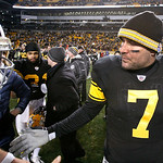 Pittsburgh Steelers quarterback Ben Roethlisberger (7) greets Cleveland Browns quarterback Colt McCoy after an NFL football game in Pittsburgh, Thursday, Dec. 8, 2011. The Steelers won 14-3. …