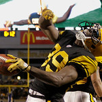 Pittsburgh Steelers wide receiver Jerricho Cotchery celebrates making a touchdown catch in the first quarter of an NFL football game against the Cleveland Browns on Thursday, Dec. 8, 2011, i …