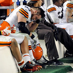 Cleveland Browns nose tackle Scott Paxson (69) sits on the sideline during the fourth quarter of an NFL Football game against the Pittsburgh Steelers Thursday, Dec. 8, 2011, in Pittsburgh. P …