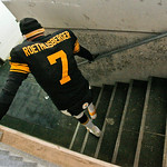 Pittsburgh Steelers quarterback Ben Roethlisberger limps down the steps to the locker room after the Steelers' 14-3 win over the Cleveland Browns in an NFL football game in Pittsburgh, Thurs …