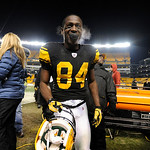Pittsburgh Steelers wide receiver Antonio Brown (84) walks off of the field following an NFL Football game against the Cleveland Browns Thursday, Dec. 8, 2011, in Pittsburgh. Pittsburgh won  …