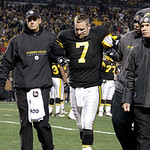 Pittsburgh Steelers quarterback Ben Roethlisberger (7) is helped from the field after being injured in the second quarter of the NFL football game against the Cleveland Browns on Thursday, D …