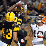 Pittsburgh Steelers cornerback William Gay (22) breaks up a pass to Cleveland Browns wide receiver Jordan Norwood (10) as safety Troy Polamalu (43) watches during the second quarter of an NF …