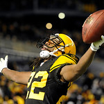 Pittsburgh Steelers cornerback William Gay (22) celebrates after intercepting a pass in the end zone, from Cleveland Browns quarterback Colt McCoy, not pictured, during the fourth quarter of …