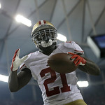 San Francisco 49ers' Frank Gore reacts after a touchdown run during the second half of the NFL football NFC Championship game against the Atlanta Falcons Sunday, Jan. 20, 2013, in Atlanta. ( …