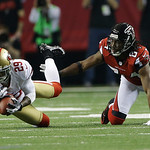 San Francisco 49ers' Chris Culliver (29) intercepts a pass in front of Atlanta Falcons' Roddy White during the second half of the NFL football NFC Championship game Sunday, Jan. 20, 2013, in …