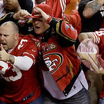 San Francisco 49ers fans react after the NFL football NFC Championship game against the Atlanta Falcons Sunday, Jan. 20, 2013, in Atlanta. The 49ers won 28-24 to advance to Super Bowl XLVII. …