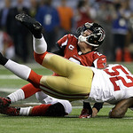 San Francisco 49ers' Patrick Willis (52) tackles Atlanta Falcons' Matt Ryan (2) after a short run during the second half of the NFL football NFC Championship game Sunday, Jan. 20, 2013, in A …