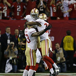 San Francisco 49ers' NaVorro Bowman, Darcel McBath and LaMichael James celebrate as time runs out in the second half of the NFL football NFC Championship game against the Atlanta Falcons Sun …