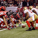The Atlanta Falcons and San Francisco 49ers  face off across the scrimmage line during the second half of the NFL football NFC Championship game Sunday, Jan. 20, 2013, in Atlanta. (AP Photo/ …