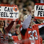 Atlanta Falcons fans hold up signs in support of their team during the first half of the NFL football NFC Championship game against the San Francisco 49ers Sunday, Jan. 20, 2013, in Atlanta. …