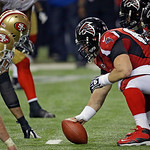 The San Francisco 49ers  and Atlanta Falcons  face off across the line during the second half of the NFL football NFC Championship game Sunday, Jan. 20, 2013, in Atlanta. (AP Photo/Dave Mart …
