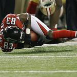 Atlanta Falcons' Harry Douglas makes a catch during the second half of the NFL football NFC Championship game against the San Francisco 49ers Sunday, Jan. 20, 2013, in Atlanta. (AP Photo/Joh …
