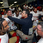 San Francisco 49ers head coach Jim Harbaugh celebrates with the team after the NFL football NFC Championship game against the Atlanta Falcons Sunday, Jan. 20, 2013, in Atlanta. The 49ers won …