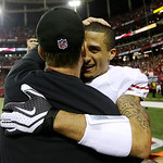 San Francisco 49ers head coach Jim Harbaugh, left, hugs Colin Kaepernick after the NFL football NFC Championship game against the Atlanta Falcons Sunday, Jan. 20, 2013, in Atlanta. The 49ers …
