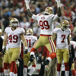 San Francisco 49ers' Aldon Smith reacts after recovering a fumble during the second half of the NFL football NFC Championship game against the Atlanta Falcons Sunday, Jan. 20, 2013, in Atlan …