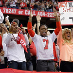 Atlanta Falcons fans cheer for their team during the second half of the NFL football NFC Championship game Sunday, Jan. 20, 2013, in Atlanta. (AP Photo/Mark Humphrey)