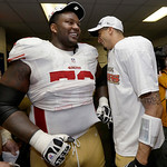 San Francisco 49ers' Colin Kaepernick celebrates with Anthony Davis after the NFL football NFC Championship game against the Atlanta Falcons Sunday, Jan. 20, 2013, in Atlanta. The 49ers won …
