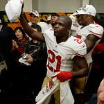 San Francisco 49ers' Frank Gore holds up a championship hat during the George Halas Trophy presentation after the NFL football NFC Championship game against the Atlanta Falcons Sunday, Jan. …