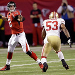 Atlanta Falcons quarterback Matt Ryan passes over San Francisco 49ers inside linebacker NaVorro Bowman during the second half of the NFL football NFC Championship game Sunday, Jan. 20, 2013, …