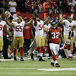 The San Francisco 49ers bench erupts after the NFL football NFC Championship game against the Atlanta Falcons Sunday, Jan. 20, 2013, in Atlanta. The 49ers won 28-24 to advance to Super Bowl  …