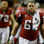 Atlanta Falcons' Todd McClure walks off the field after the NFL football NFC Championship game against the San Francisco 49ers Sunday, Jan. 20, 2013, in Atlanta. The 49ers won 28-24 to advan …