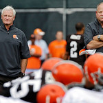 In this Aug. 21, 2012, file photo, Cleveland Browns president Mike Holmgren, right, watches practice with new owner Jimmy Haslam during training camp at the NFL football team's practice faci …
