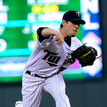 Minnesota Twins pitcher Kevin Slowey throws against the Cleveland Indians in the first inning of a baseball game Tuesday, April 20, 2010 in Minneapolis. (AP Photo/Jim Mone)