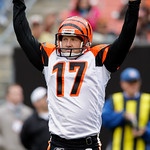 Cincinnati Bengals kicker Shayne Graham celebrates after a 33-yard field goal in overtime to beat the Cleveland Browns 23-20 in an NFL football game Sunday, Oct. 4, 2009, in Cleveland. (AP P …