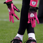Cincinnati Bengals wide receiver Chad Ochocinco wears pink gloves and shoes during warmups for the Bengals' NFL football game against the Cleveland Browns on Sunday, Oct. 4, 2009, in Clevela …
