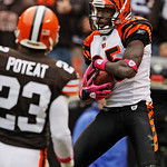 Cincinnati Bengals wide receiver Chad Ochocinco (85) catches a 3-yard touchdown pass in b ack of Cleveland Browns cornerback Hank Poteat (23) in the fourth quarter of an NFL football game Su …