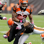 Cincinnati Bengals running back Bernard Scott runs for a first down in the first quarter of an NFL football game against the Cleveland Browns, Sunday, Oct. 4, 2009, in Cleveland. (AP Photo/M …