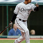 Chicago White Sox's Dewayne Wise triples off Cleveland Indians starting pitcher Fausto Carmona to drive in a run in the fourth inning of the first game of a baseball doubleheader on Wednesda …