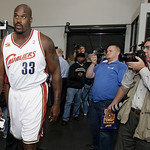 Cleveland Cavaliers&#039; Shaquille O&#039;Neal walks away from reporters after answering questions during the NBA basketball team&#039;s media day Monday, Sept. 28, 2009, in Independence, Ohio. (AP Photo/ &#8230;