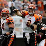 Cincinnati Bengals quarterback Carson Palmer fires a pass for a first down during the first quarter of an NFL football game against the Cleveland Browns Sunday, Oct. 4, 2009, in Cleveland. ( …