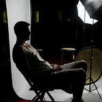 Cleveland Cavaliers' Coby Karl waits in the dark after the building lost power during the NBA basketball team's media day Monday, Sept. 28, 2009, in Independence, Ohio. The strobes in the ph …