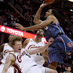 Charlotte Bobcats' Gerald Henderson, right, is fouled by Cleveland Cavaliers' Coby Karl (5) in the fourth quarter of a preseason NBA basketball game, Tuesday, Oct. 6, 2009, in Cleveland. Cav …