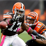 Cleveland Browns wide receiver Braylon Edwards (17) drops a pass while defended by Cincinnati Bengals cornerback Leon Hall (29) in the first quarter of an NFL football game Sunday, Oct. 4, 2 …