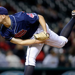 Cleveland Indians' Justin Masterson pitches against the Chicago White Sox in the ninth inning of the second game of a baseball doubleheader Wednesday, Sept. 30, 2009, in Cleveland. Masterson …