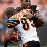 Cleveland Browns wide receiver Braylon Edwards, top, hugs Cincinnati Bengals wide receiver Chad Ochocinco (85) before an NFL football game Sunday, Oct. 4, 2009, in Cleveland. (AP Photo/Amy S …