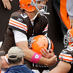Cleveland Browns quarterback Derek Anderson is hoisted by offensive lineman Hank Fraley after Anderson ran for a touchdown in the third quarter of an NFL football game against the Cincinnati …