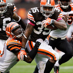 Cleveland Browns running back Jerome Harrison (35) is tackled by Cincinnati Bengals safety Chinedum Ndukwe after a 20-yard run n the third quarter of an NFL football game Sunday, Oct. 4, 200 …