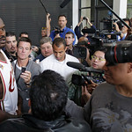 Cleveland Cavaliers&#039; Shaquille O&#039;Neal talks to reporters during the NBA basketball team&#039;s media day Monday, Sept. 28, 2009, in Independence, Ohio. (AP Photo/Tony Dejak)