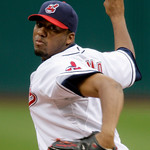 Cleveland Indians' Fausto Carmona pitches against the Chicago White Sox in the first inning of the first game of a baseball doubleheader Wednesday, Sept. 30, 2009, in Cleveland. (AP Photo/Ma …