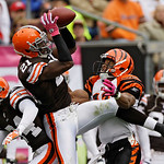 Cleveland Browns safety Brodney Pool (21) intercepts a pass intended for Cincinnati Bengals wide receiver Laveranues Coles in the second quarter of an NFL football game on Sunday, Oct. 4, 20 …