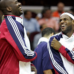 Cleveland Cavaliers' Shaquille O'Neal, left, and LeBron James laugh in the fourth quarter of a preseason NBA basketball game against the Charlotte Bobcats, Tuesday, Oct. 6, 2009, in Clevelan …