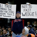 An unidentified fan comments on the firing of Cleveland Indians manager Eric Wedge during the second game of a baseball doubleheader against the Chicago White Sox, Wednesday, Sept. 30, 2009, …