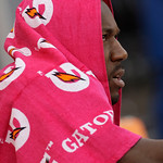 Cleveland Browns running back Jerome Harrison wears a pink towel on the bench during an NFL football game against the Cincinnati Bengals Sunday, Oct. 4, 2009, in Cleveland. NFL players wore …